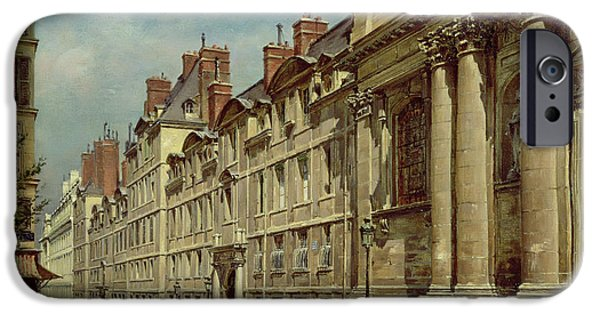 Balcony iPhone Cases - La Sorbonne iPhone Case by Paul Joseph Victor Dargaud