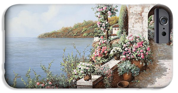 Vase iPhone Cases - La Terrazza iPhone Case by Guido Borelli