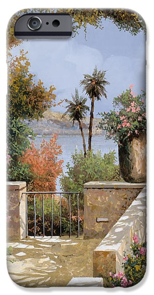 Terraces iPhone Cases - La Terrazza Un Vaso Due Palme iPhone Case by Guido Borelli