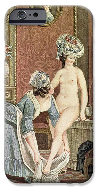 Bathing Drawings iPhone Cases - La Toilette Engraving By Louis Marin iPhone Case by Nicolas Rene Jollain
