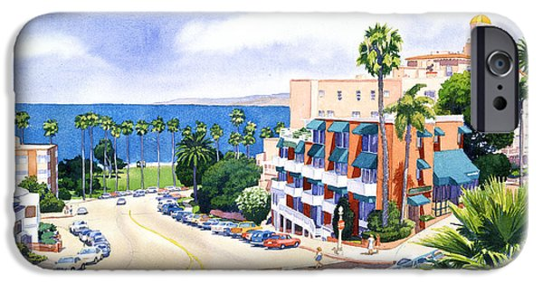 City Scape iPhone Cases - La Valencia and Prospect Park Inn LJ iPhone Case by Mary Helmreich