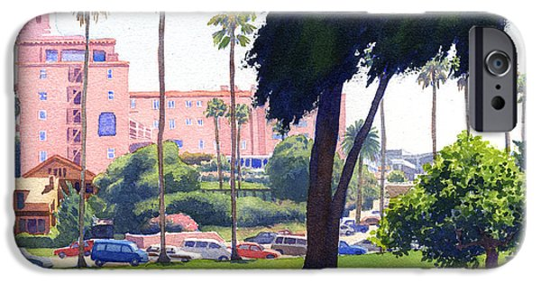 Historic Architecture iPhone Cases - La Valencia Hotel and Cypress iPhone Case by Mary Helmreich