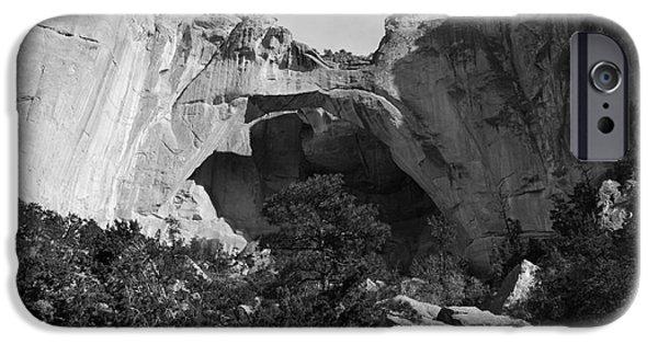 Mexico iPhone Cases - La Ventana Arch Land Bridge Landscape El Malpais National Monument New Mexico Black and White iPhone Case by Shawn O
