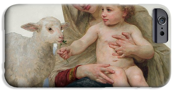 Sheep Paintings iPhone Cases - La Vierge a lAgneau iPhone Case by William-Adolphe Bouguereau