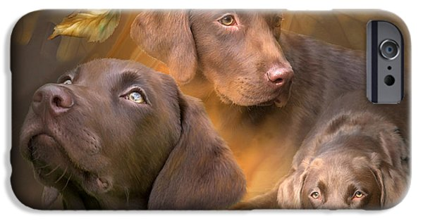 Dogs iPhone Cases - Lab In Autumn iPhone Case by Carol Cavalaris