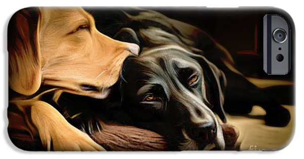 Chocolate Lab Digital Art iPhone Cases - Lab Love iPhone Case by Larry Espinoza