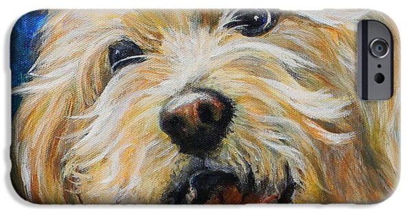 Dog Close-up Paintings iPhone Cases - Labradoodle iPhone Case by Judy Bruning
