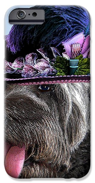 Canine Greeting Cards Digital Art iPhone Cases - Labradoodle Trudy To The Derby iPhone Case by Michele  Avanti