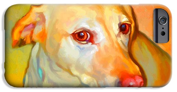 Cute Puppy Pictures Digital Art iPhone Cases - Labrador Painting iPhone Case by Iain McDonald