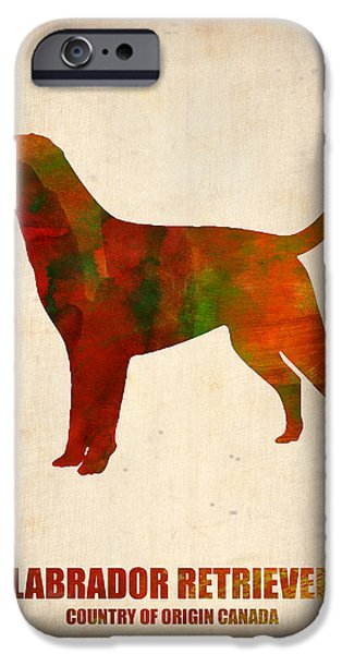 Puppy Digital Art iPhone Cases - Labrador Retriever Poster iPhone Case by Naxart Studio
