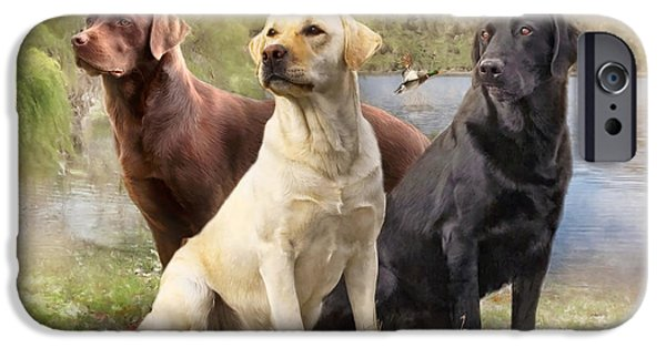 Chocolate Lab Mixed Media iPhone Cases - Labrador Retrievers iPhone Case by Angelgold Art
