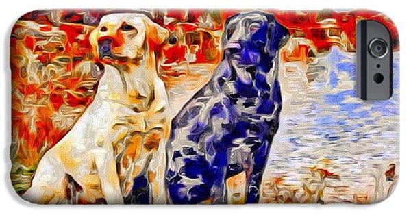 Puppy Digital iPhone Cases - Labrador Retrievers Color Splash iPhone Case by Scott Wallace