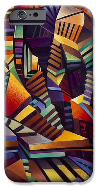 Staircase Paintings iPhone Cases - Labrynth 1 iPhone Case by Ricardo Chavez-Mendez