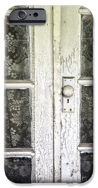 French Doors iPhone Cases - Lace Curtains iPhone Case by Margie Hurwich