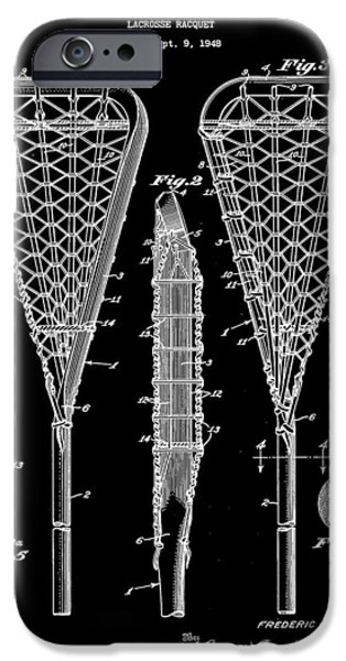 Racquet iPhone Cases - Lacrosse Stick Patent 1948 - Black iPhone Case by Stephen Younts