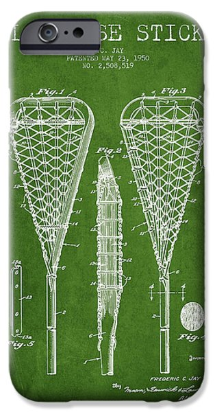 Technical iPhone Cases - Lacrosse Stick Patent from 1950- Green iPhone Case by Aged Pixel