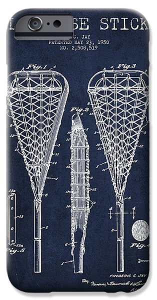 Technical iPhone Cases - Lacrosse Stick Patent from 1950- Navy Blue iPhone Case by Aged Pixel