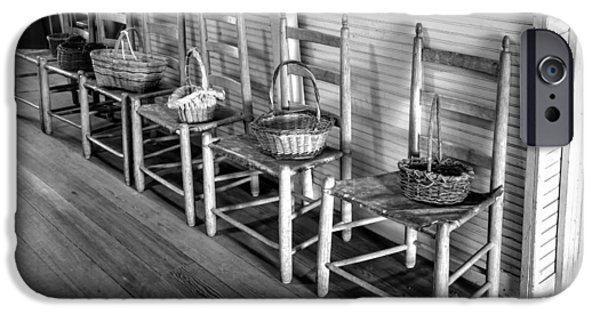 Ladder Back Chairs iPhone Cases - Ladder Back Chairs and Baskets iPhone Case by Lynn Palmer