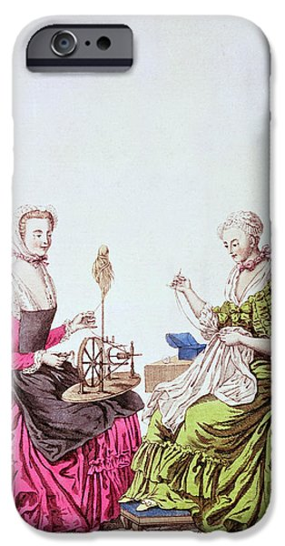 Mending iPhone Cases - Ladies Spinning And Sewing, C.1765 Colour Engraving iPhone Case by .