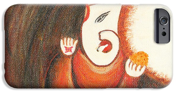 Etc. Paintings iPhone Cases - Ladoo Ganesha iPhone Case by Archana  Sinha