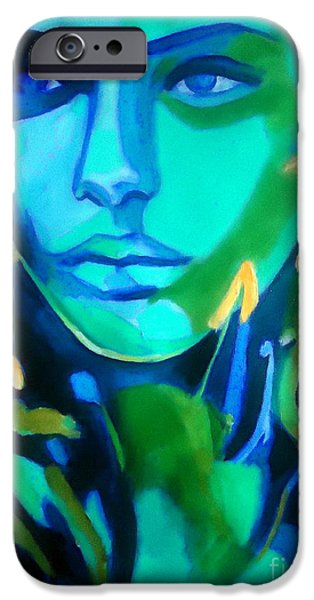 Figures iPhone Cases - Lady blue iPhone Case by Helena Wierzbicki