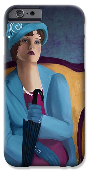 Lips iPhone Cases - Lady Blue iPhone Case by Sydne Archambault