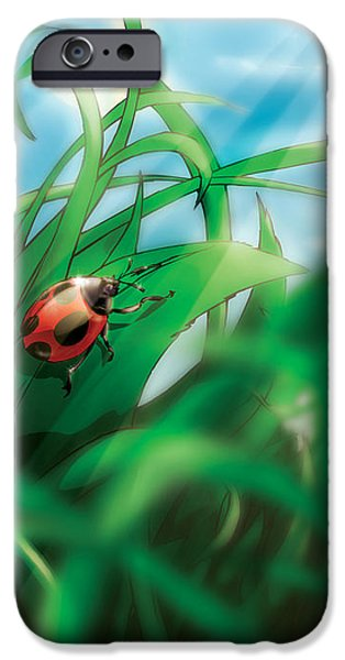 Sun Rays Drawings iPhone Cases - Lady Bug iPhone Case by Hanan Evyasaf