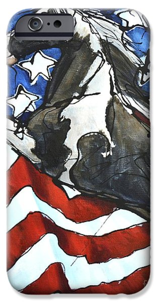 Old Glory Paintings iPhone Cases - Lady C Salutes iPhone Case by Jonelle T McCoy