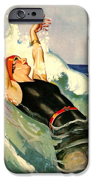 Malibu Paintings iPhone Cases - Lady Relaxing Into Waves - At The Beach America iPhone Case by Private Collection