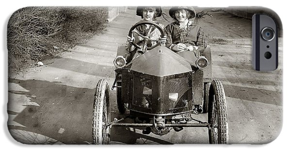 Old Cars iPhone Cases - Lady Drivers iPhone Case by Jon Neidert