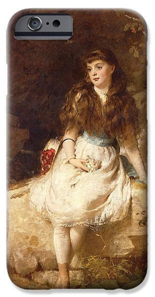 Historical Pictures iPhone Cases - Lady Edith Amelia Ward Daughter of the First Earl of Dudley iPhone Case by George Elgar Hicks