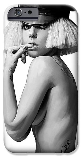 Lady Mixed Media iPhone Cases - Lady Gaga Artwork 2 iPhone Case by Sheraz A