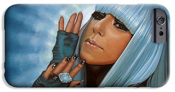 Singer-songwriter iPhone Cases - Lady Gaga iPhone Case by Paul Meijering