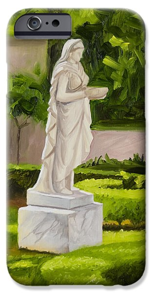 Garden Scene Paintings iPhone Cases - Lady Gandes Garden iPhone Case by Gary  Hernandez