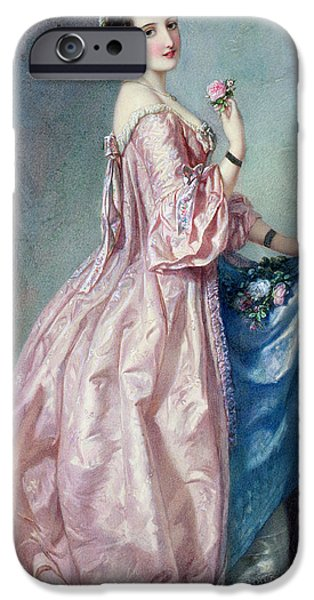19th Century iPhone Cases - Lady holding Flowers in her Petticoat iPhone Case by Augustus Jules Bouvier