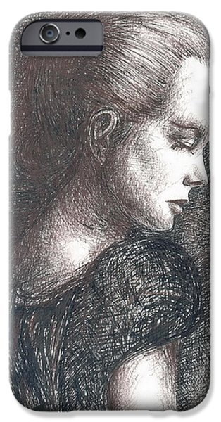 Sepia Ink Drawings iPhone Cases - Lady In Black iPhone Case by Jovica Kostic