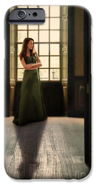 Ball Gown iPhone Cases - Lady in Green Gown by Window iPhone Case by Jill Battaglia