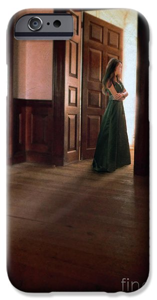 Ball Gown iPhone Cases - Lady in Green Gown in Doorway iPhone Case by Jill Battaglia