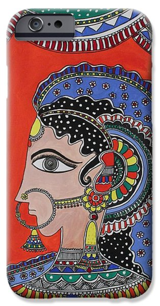 Religious Drawings iPhone Cases - Lady in ornaments iPhone Case by Shakhenabat Kasana