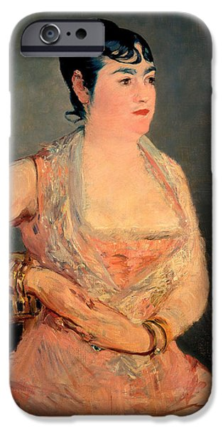 Sit-ins Paintings iPhone Cases - Lady in Pink iPhone Case by Edouard Manet
