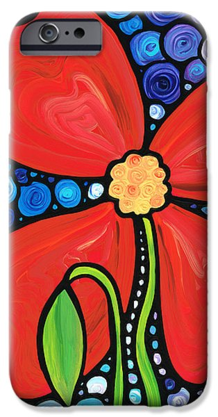 Mosaic iPhone Cases - Lady in Red 2 - Buy Poppy Prints Online iPhone Case by Sharon Cummings