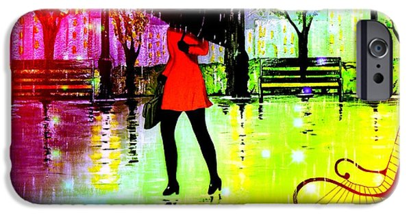 Rainy Day iPhone Cases - Lady in Red 2 iPhone Case by Kenneth A Mc Williams