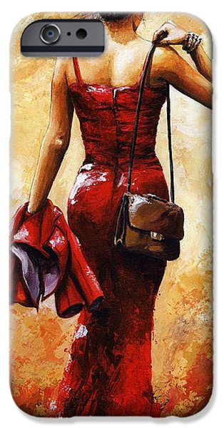 Young Paintings iPhone Cases - Lady in Red #25 iPhone Case by Emerico Imre Toth