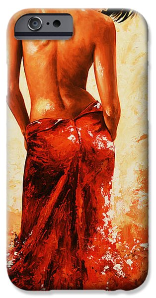 Nudes Paintings iPhone Cases - Lady in Red 27RE Large  iPhone Case by Emerico Imre Toth