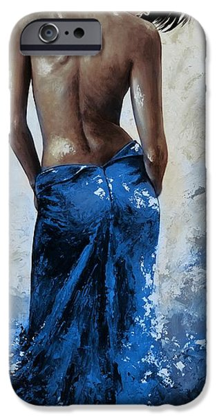 Young Paintings iPhone Cases - Lady in red 27RE blue color version large iPhone Case by Emerico Imre Toth