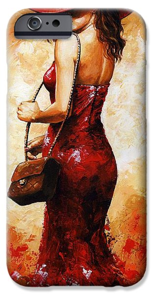 Young iPhone Cases - Lady in red  30 iPhone Case by Emerico Imre Toth