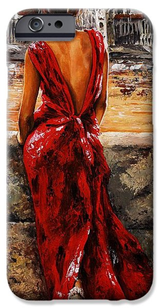 Impressionist iPhone Cases - Lady in red  34 -  I love Budapest iPhone Case by Emerico Imre Toth