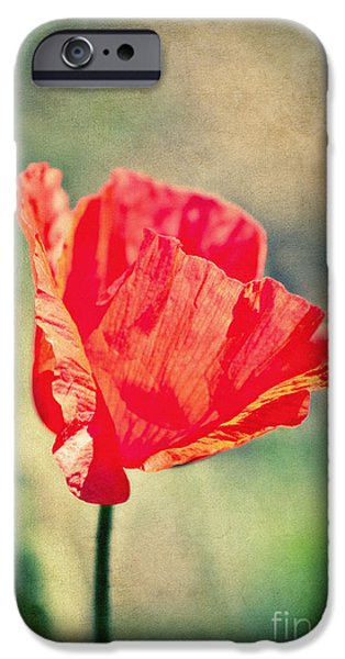 Flora Mixed Media iPhone Cases - Lady in red iPhone Case by Angela Doelling AD DESIGN Photo and PhotoArt