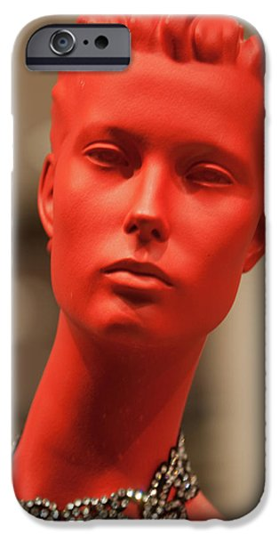 Model iPhone Cases - Lady in Red iPhone Case by Art Block Collections
