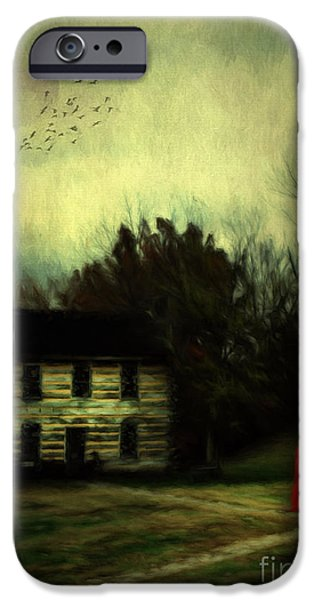 Cabin Window iPhone Cases - Lady in Red iPhone Case by Darren Fisher